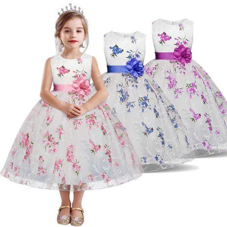 Детское праздничное платье с голубой вышивкой 110 120 130 140 150 рост