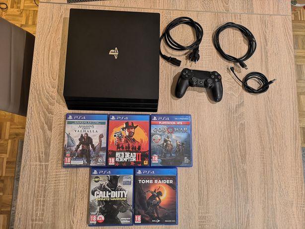 Playstation 4 Pro 1TB + pad Dualshock 4 V2 + okablowanie + gry