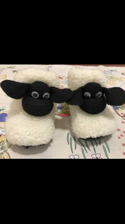 Домашние сапожки из овчины тапочки комнатные