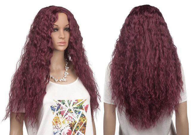 Peruka długa kręcone włosy długie 76cm bordowa czerwona burgundy