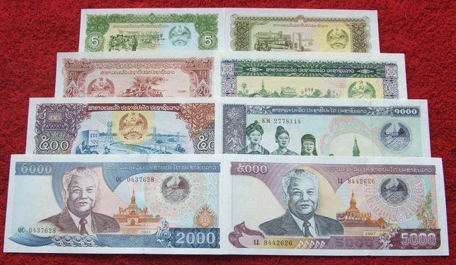 LAOS Kolekcjonerskie Banknoty Zestaw - 8 sztuk UNC