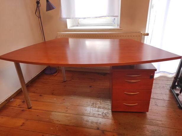 Duże biurko asymetryczne z kontenerkiem