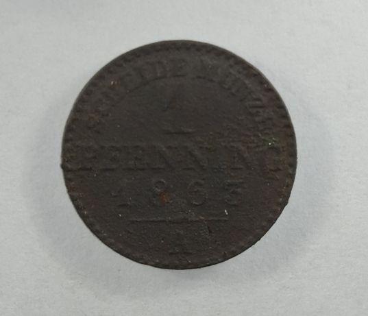 Moneta 1 Pfening 1863 A