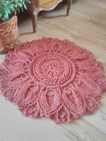 Dywan, dywanik ze sznurka na szydełku , rękodzieło
