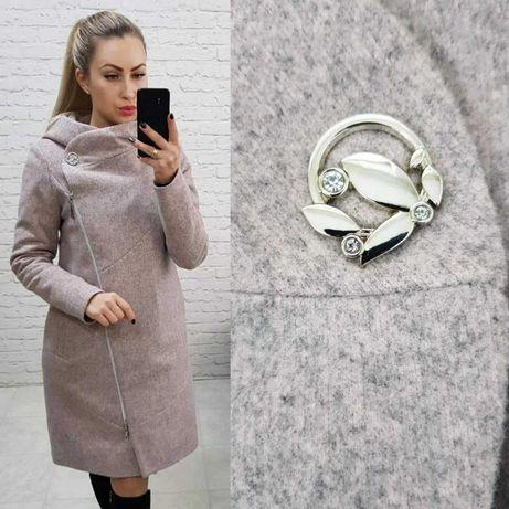 Пальто зимнее с капюшоном и на молнии арт 136/1  S M l XL