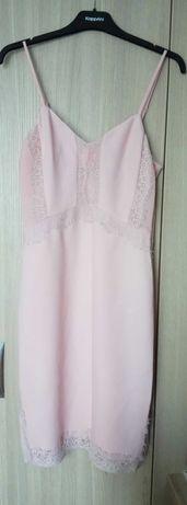 Sukienka koktajlowa bieliźniana 38 M pudrowy róż nowa Warehouse