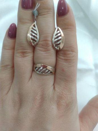Серьги и кольцо серебро с золотыми вставками, набор серебро с золотом