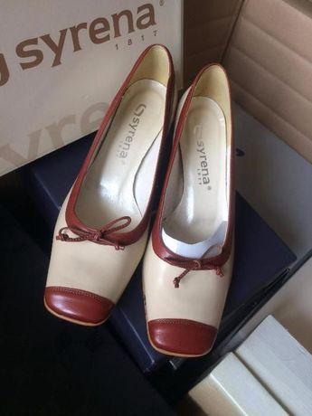 Buty eleganckie, czółenka, mały obcas nowe 40 25,5cm Syrena