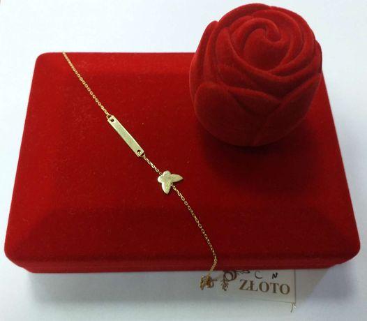 Złota bransoleta z blaszką i motylkiem próby 585