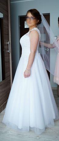 Suknia ślubna śliczna koronką tiul