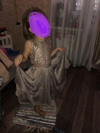 Нарядное Платье Rocha John 6 лет коричневый-капучино нарядное расшитое