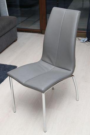 Krzesło krzesła Fidia eko skóra szare chrom 4 sztuki