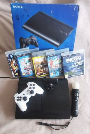 Konsola Ps3 super slim 250gb, ps move plus gry -  zestaw