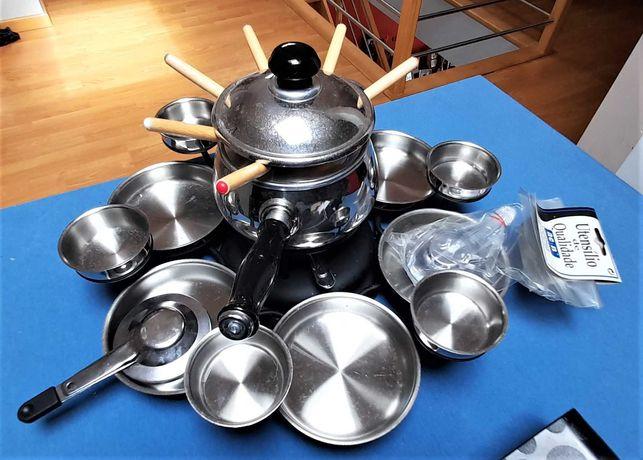 Set de fondue, louça de marca e outros bens