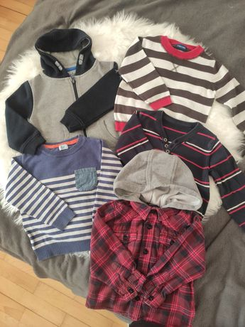 5 x Bluza swetry koszula z kapturem 98