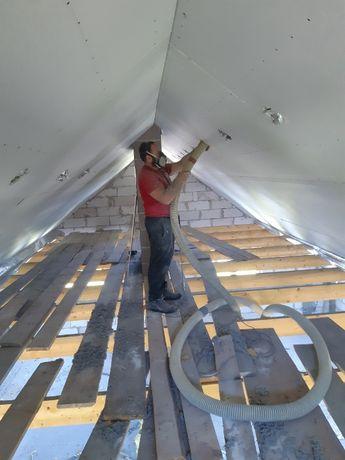 Ocieplanie celulozą, wełną, poddasza stropy dachy ściany stare i nowe.