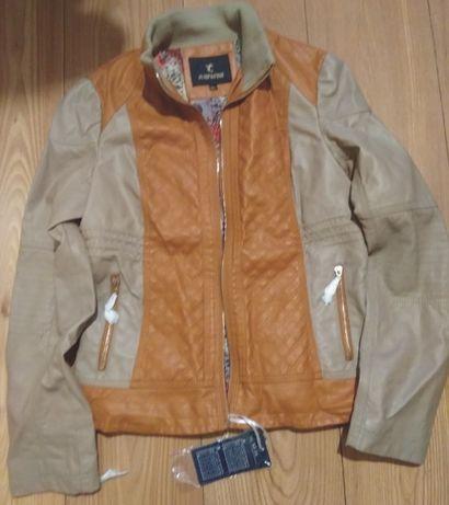 Nowa brązowo - beżowa kurtka , damska, ze skóry ekologicznej, r. XL