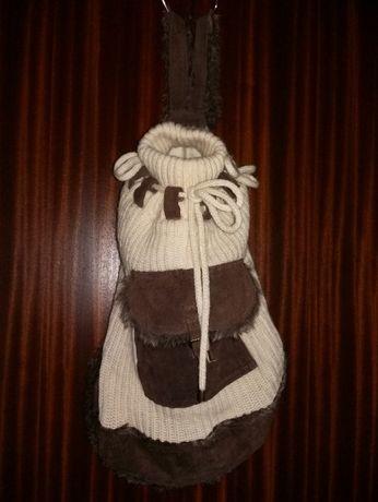 Mochila da Zara em lã e pele NOVA