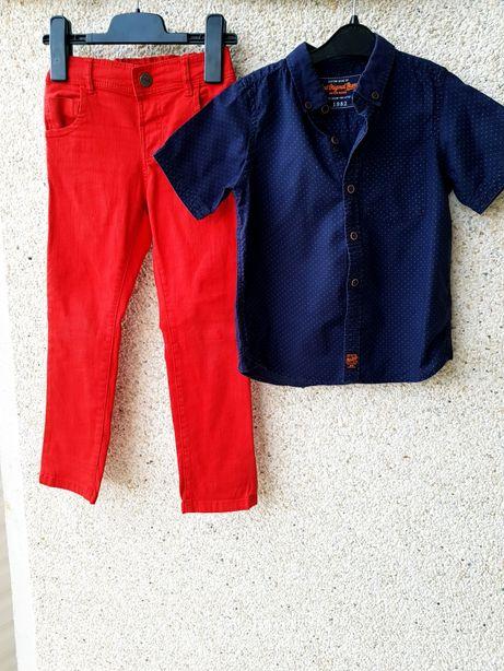 Костюм,комплект:джинсы-чиносы красного цвета и рубашка Next 4-6лет