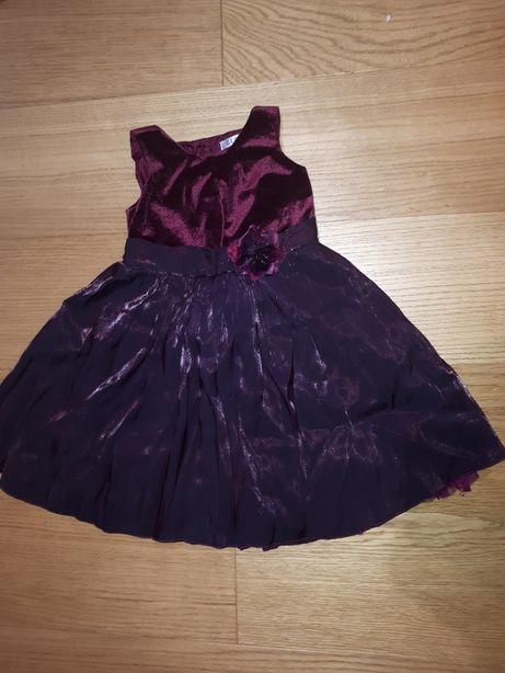 Bordowa sukienka balowa George 2-3 latka 92-98 cm świąteczna welurowa