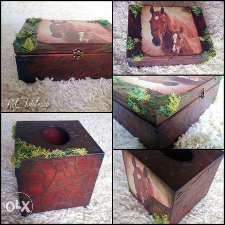 Kot Kustosza Zestaw decoupage szkatułka chustecznik konie Rękodzieło