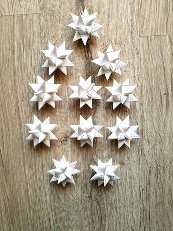 Gwiazdki na choinkę, papierowe, handmade, różne kolory.