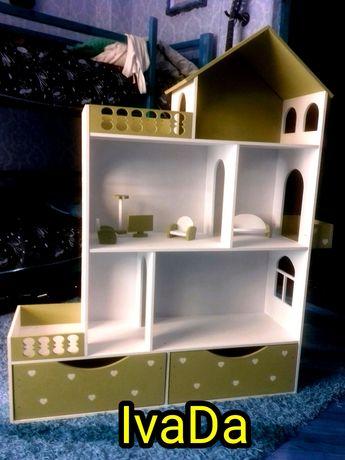 Бело- оливковый с ящиками кукольный домик