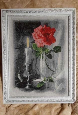 """Вышитая бисером картина """"Роза и свеча"""""""