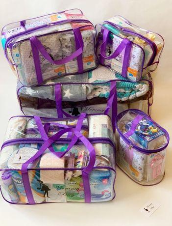 Прозрачные сумки в роддом Набор 4+1 в подарок ТМ Mommy Bag