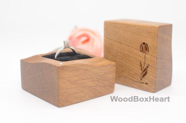 Деревянная шкатулка футляр коробочка для помолвочного кольца, колец
