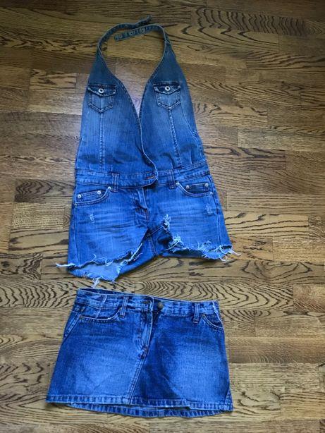 ogrodniczki krótkie -spódniczka jeans