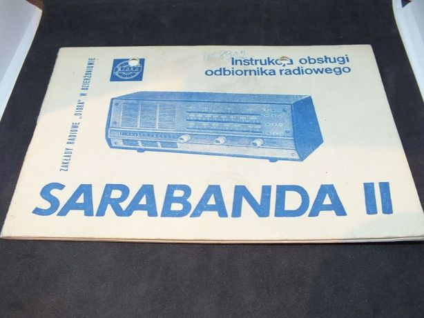 Radio SARABANDA II instrukcja obsługi 1967