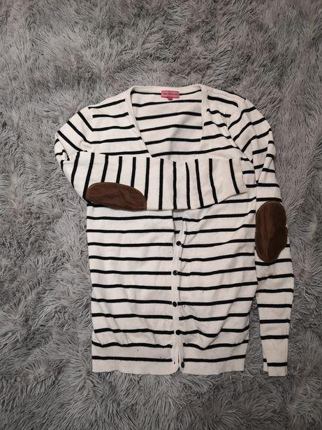 Kardigan sweter zapinany w paski z łatami M