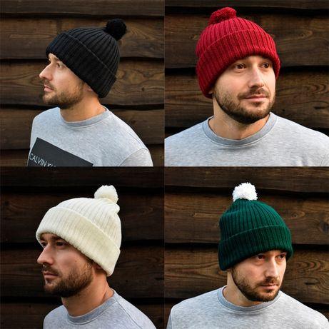 Зимняя шапка с бубоном черная, бордовая, белая, темно зелёная женская