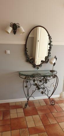 Zestaw metaloplastyka konsola siedzisko lustro lampa/ka kinkiet paraso