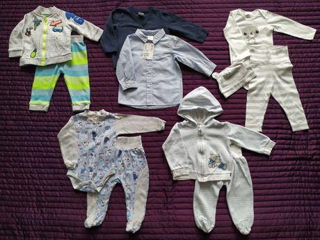 Ubranka dla chłopca r. 68 (ponad 50 szt.) i akcesoria do karmienia