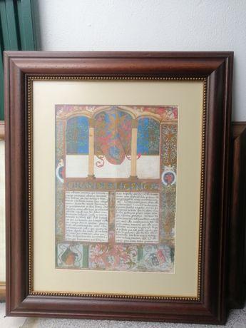 Quadro com Carta Regia - moldura em madeira boa.
