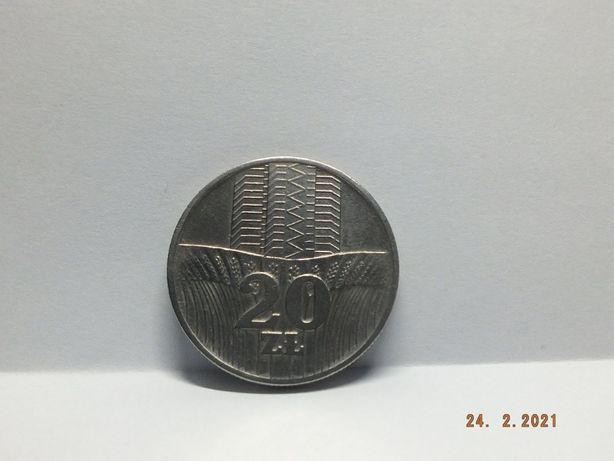 Moneta 20 zł Wieża i kłosy z 1973r bez zn.mennicy