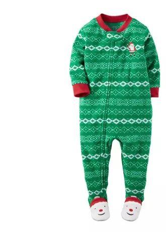 Пижама флисовая человечек слип Carters. Новогодний орнамент 12- 24 мес