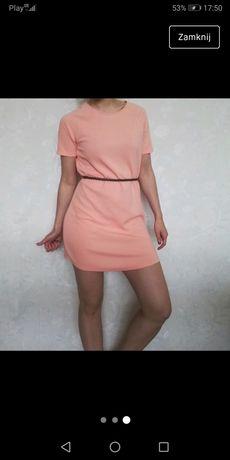 Pastelowa Sukienka Koral Piękna Bloggerska Rozmiar S M