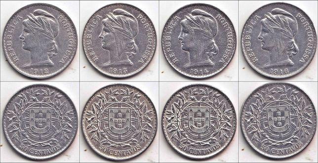 44 moedas de 50 centavos - Portugal - 1912 a 1978