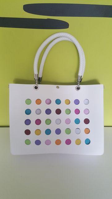 Prześliczna duża biała elegancka torebka torba  z możliwością prania