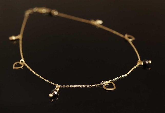 Złoto 585-złota bransoletka na stopę nogę  z przywieszkami