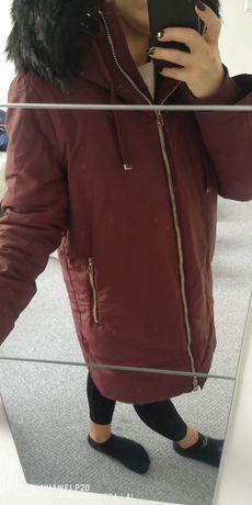 Płaszcz zimowy Zara bordowa L  bardzo ciepła
