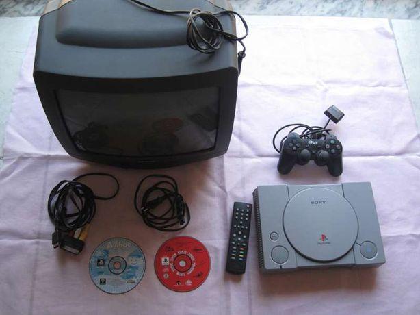 Consola PlayStation 1 + jogos + TV