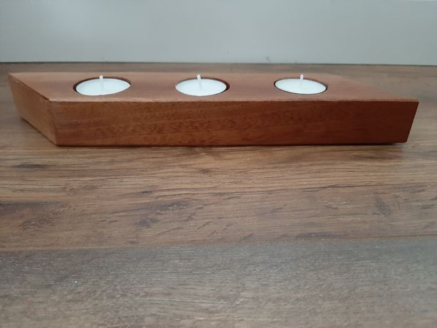 Świecznik, drewniany, oryginalny, ręcznie wykonany, prezent