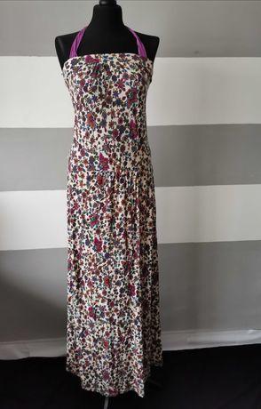 Maxi sukienka długa w kwiaty rozmiar 36-38 / S-M