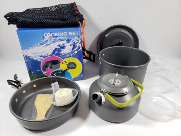 Набор посуды DS-308 кемпинг, поход (кастрюля, чайник, сковородка)
