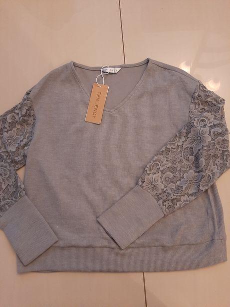 Sweter bluzka L koronkowa