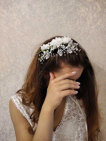 Набір весільний обруч для волосся та бутоньєрка
